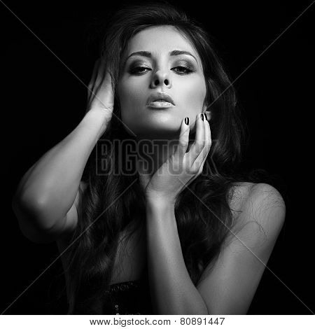 Erotic Woman Looking Hot With Long Brown Hair. Black And White Portrait