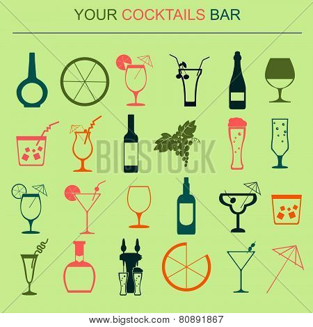 Alcohol drinks icons. 16 flat icons set.