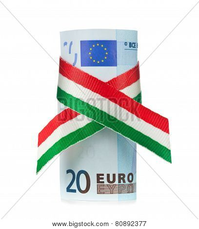 Twenty Euro Rolled With Tricolor Ribbon