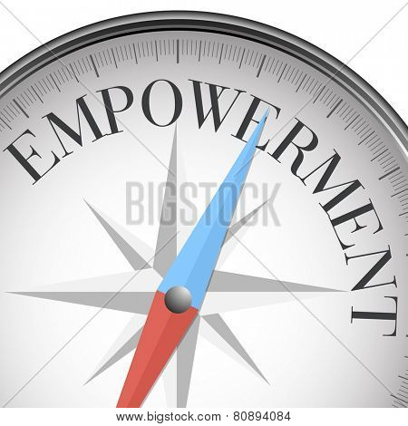 detailed illustration of a compass with empowerment text, eps10 vector