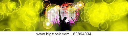 Crowd of dancing people, vector
