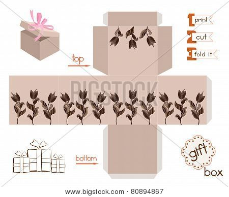 Printable Gift Box With Abstract Tulips