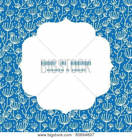 Vector blue white lineart plants circle frame seamless pattern background