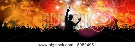 Crowd of people. Concert illustration. Vector