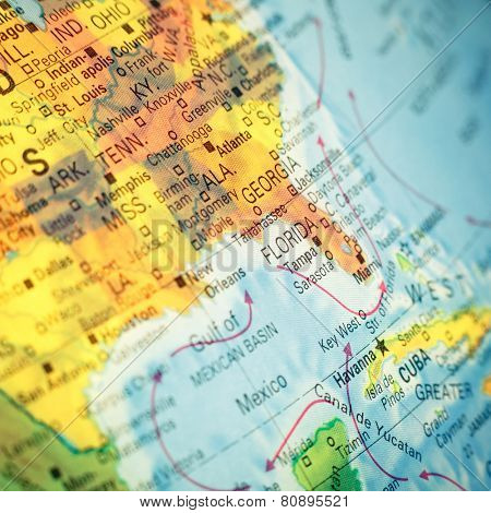 Map South East USA .  Close-up macro image of  map Southeast America. Selective focus