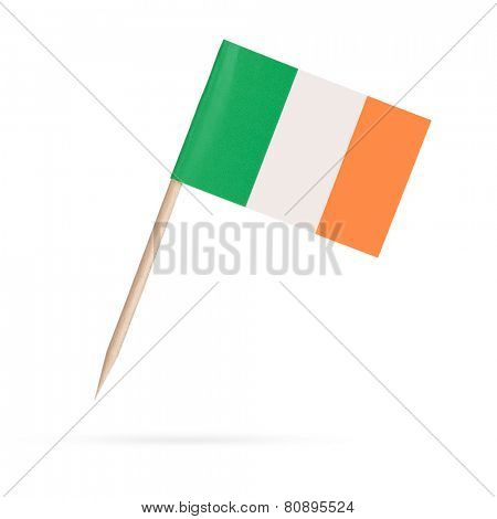 Miniature paper flag Ireland. Isolated Irish flag on white background.With shadow below
