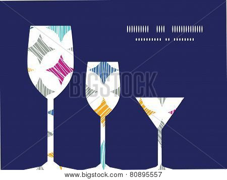 Vector colorful marble textured tiles three wine glasses silhouettes pattern frame