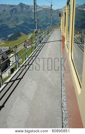 Platform On Train Station Nearby Jungfraujoch In Switzerland
