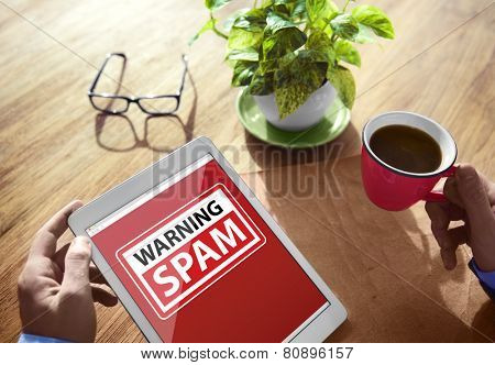 Digital Device Wireless Browsing Warning Spam Internet Concept