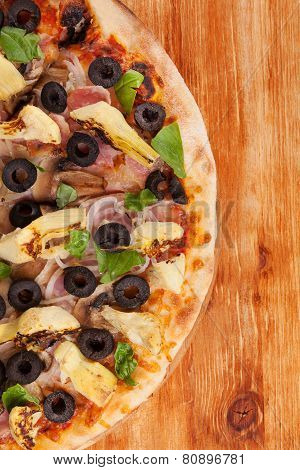 Delicious Colorful Pizza Background.