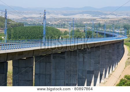 viaduct in Calatayud, Saragossa, Aragon, Spain, AVE Madrid Barcelona.
