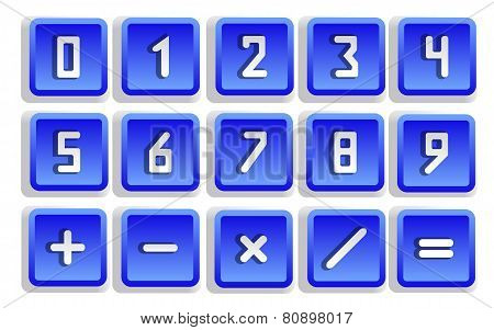 Blue Numeric Button Set