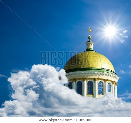 christian church on a clouds