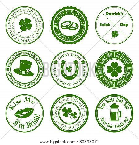 collection of vector st. patrick's badges