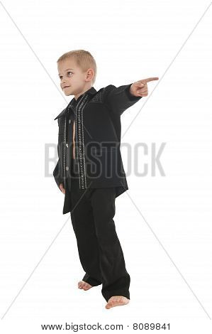 Adorable Little Boy Pretending To Be A Rockstar