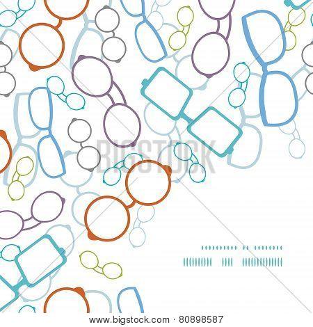 Vector colorful glasses frame corner pattern background