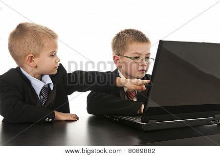 Two Boys Pretending To Be Businessmen