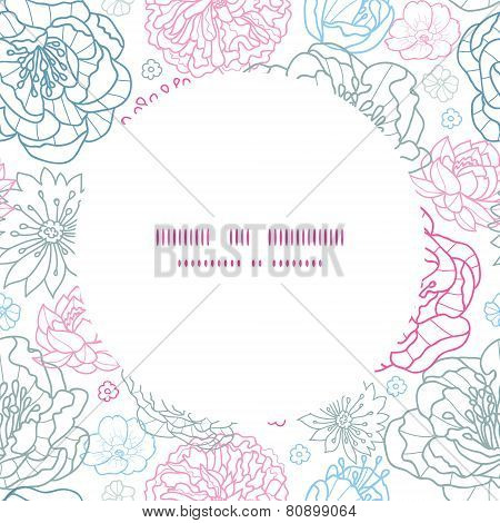 Vector gray and pink lineart florals frame seamless pattern background