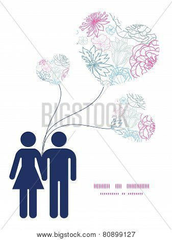 Vector gray and pink lineart florals couple in love silhouettes frame pattern invitation greeting ca
