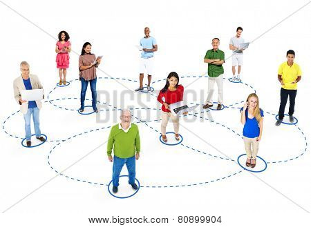 Casual Group Diverse People Interconnection Social Networking Concept