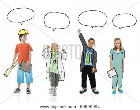 Group of Children in Dreams Job Uniform with Speech Bubbles