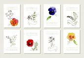 stock photo of marriage decoration  - Hand drawn collection of romantic floral invitations - JPG