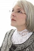 pic of matron  - Mature attractive Caucasian woman looking off into the distance - JPG