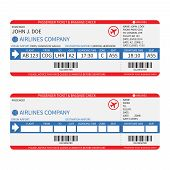 picture of boarding pass  - Vector airline passenger and baggage  - JPG