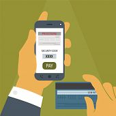 stock photo of electronic banking  - Vector illustration concept of mobile payment application from credit bank card on smartphone screen in man hand - JPG