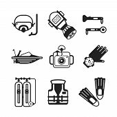 stock photo of flipper  - Set of vector monochrome diving icons like mask fins flippers flashlight sea boat underwater photo camera and scuba in flat style - JPG