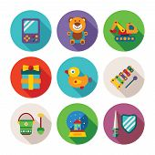 stock photo of snow shovel  - Set of vector colorful kids toys icons in flat style like portable game teddy bear excavator duck gift bucket snow globe sword shield and xylophone - JPG