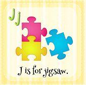 foto of letter j  - Illustration of a letter J is for jigsaw - JPG