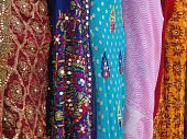 image of charminar  - Fine silk brocade saree fabric in Lad Bazaar in Charminar Hyderabad Andhra Pradesh India Asia - JPG