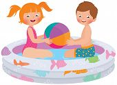 picture of pool ball  - Stock Vector cartoon illustration of children playing in inflatable pool - JPG