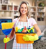 picture of house cleaning  - Young smiling cleaner woman in modern house - JPG