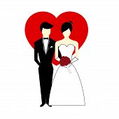 stock photo of soulmate  - Vector Bride and Groom with Heart as background Illustration - JPG