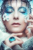 image of snow queen  - Snow Queen over white background - JPG