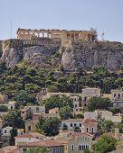 stock photo of akropolis  - Athens acropolis and Plaka old neighborhood Greece - JPG