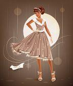 picture of slim model  - Slim african american model wearing a beautiful retro dress - JPG