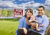 picture of yard sale  - Happy Young Mixed Race Family in Front of For Sale Real Estate Sign and New House - JPG