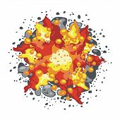 picture of fiery  - Fiery explosion on white background vector - JPG