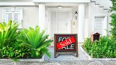 pic of borrower  - Sold home for sale Real estate sign in front of new house - JPG