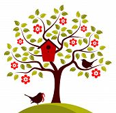 stock photo of nesting box  - vector flowering tree with nesting bird box and couple of birds isolated on white background - JPG