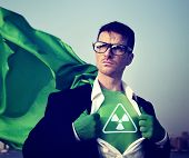 stock photo of radioactive  - Radioactive Strong Superhero Success Professional Empowerment Stock Concept - JPG