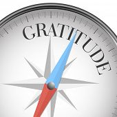 stock photo of gratitude  - detailed illustration of a compass with gratitude text - JPG