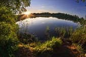 pic of dnepropetrovsk  - Summer sunset on the shore of the pond - JPG