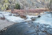 pic of collins  - Cache la Poudre River in winter scenery at confluence with its North Fork  - JPG