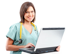 picture of health-care  - Smiling medical doctor working with laptop - JPG