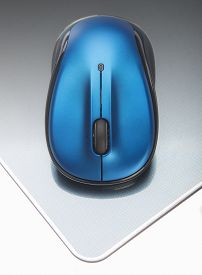 stock photo of fancy mouse  - Small blue wireless mouse for portable laptop - JPG