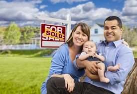 pic of yard sale  - Happy Mixed Race Young Family in Front of Sold Home For Sale Real Estate Sign and House - JPG